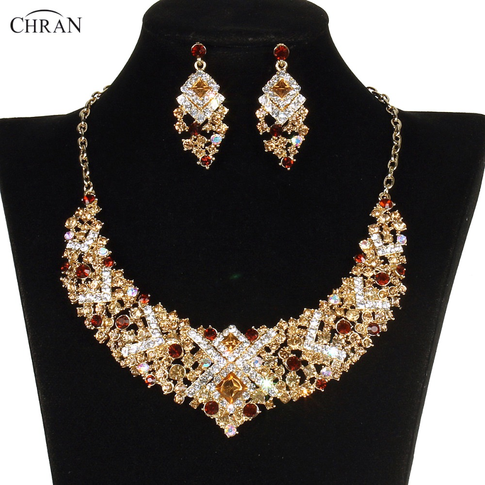 Celebrity Wedding Sets: CHRAN Gold Tone Luxury Bridal Wedding Jewelry Sets