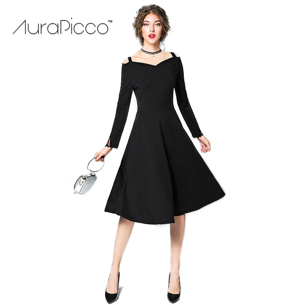 39984faa74a6 Women s Vintage Off Shoulder Runway Dress Retro Hepburn Style Long Sleeve  Slash Neck Midi Swing Party Dresses 2018 New AuraPicco