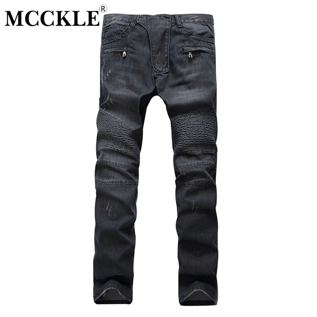 65e66c26caa High Street Jeans Biker Mens Pants Denim Motorcycle White Black Blue  Pleated Trousers for Men 2019 Autumn Skinny Clothes Male