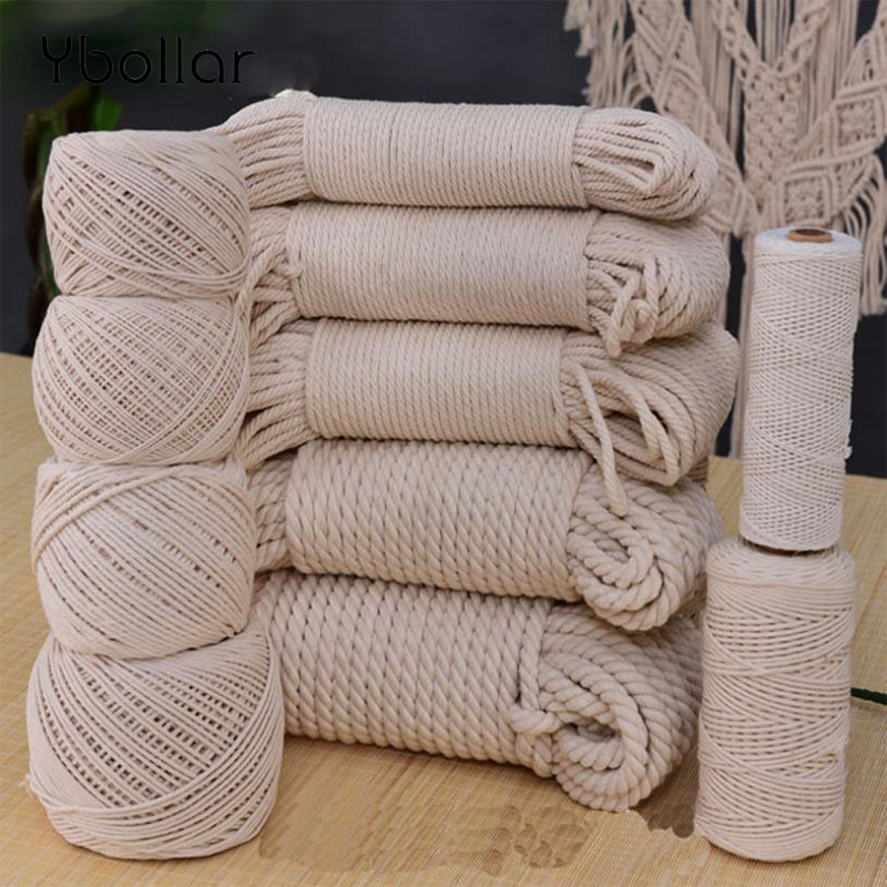 1/2/3/4/5/6/8/10mm Diameter Durable Beige Cotton Rope Twisted Cord Craft Macrame String DIY Home Textile Tying Thread Many Size