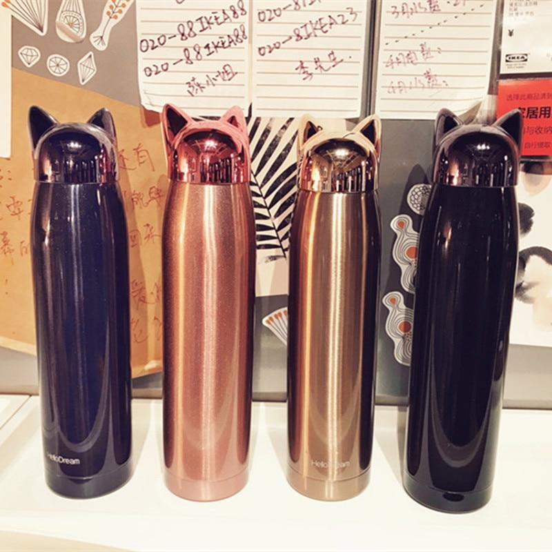 BPA-VRIJ 320 ml koffiemok thermosflessen 304 roestvrij staal thermals cup Galvaniseren Thermosfles Waterfles Fox ketel met touw
