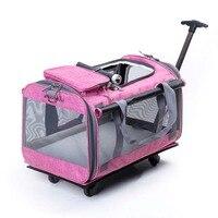 Сумки для домашних животных зверек Универсальный с колесом Чемодан, кошка и собака открытый прокатки чемодан, дышащий Pet дом дорожная сумка