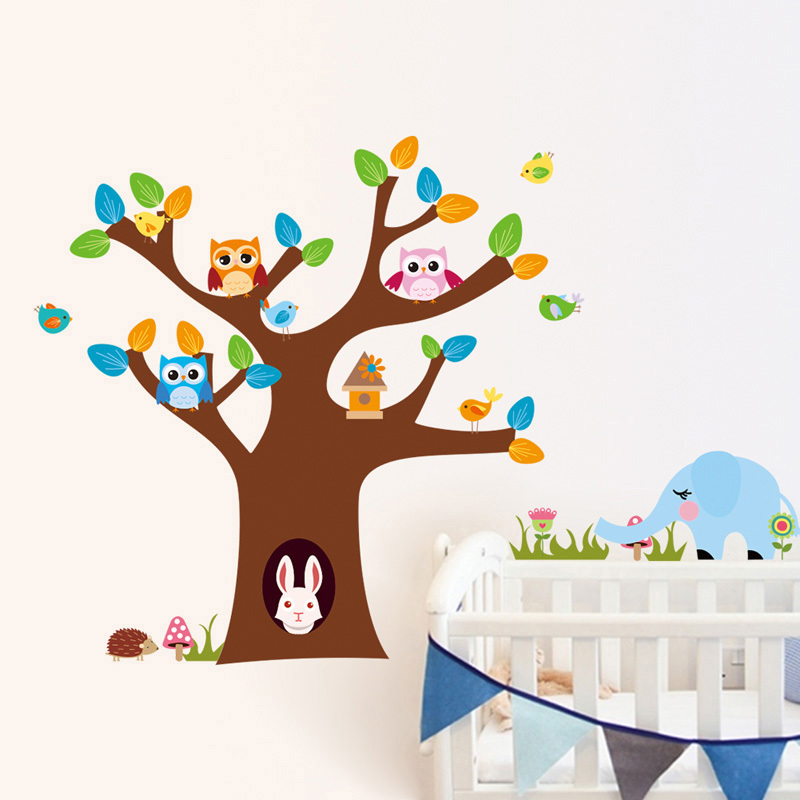 wall sticker owl rabbit tree owl on a tree branch wall sticker stickerscape uk