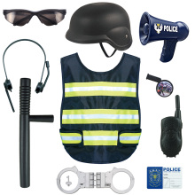 8Pcs/set Children Role Play Police Kit Cop Dress-up Playset + Vest Waistcoat with Reflective Strips+ Megaphone