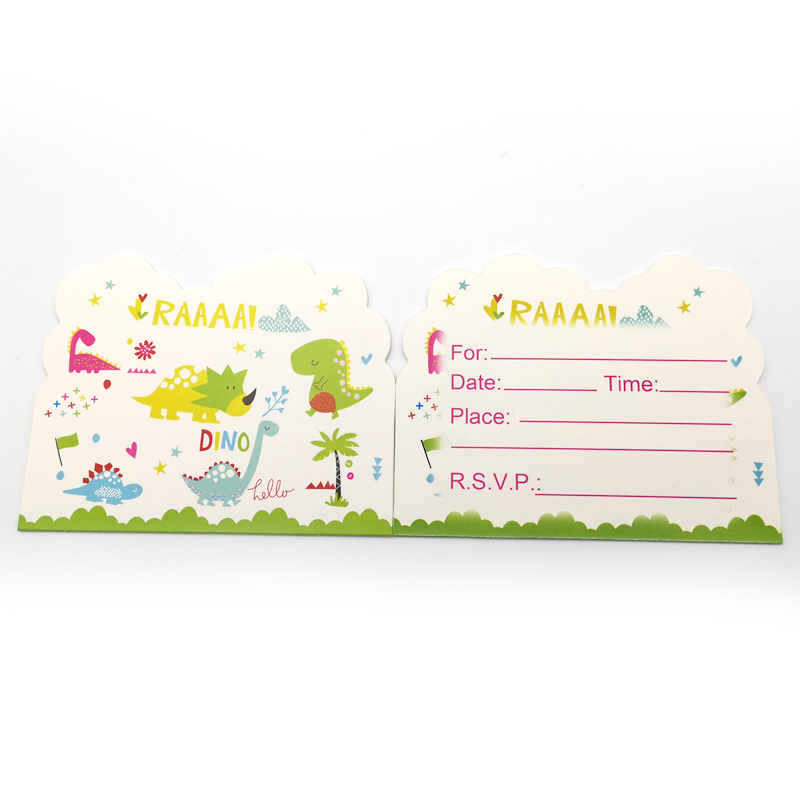 Happy Birthday Party Decoration Dinosaur Design Boys Kids Favors Baby Shower Paperboard Invitation Cards 10PCS/PACK