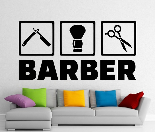 Hair Salon Wall Decor aliexpress : buy removable barber shop stickers hair salon