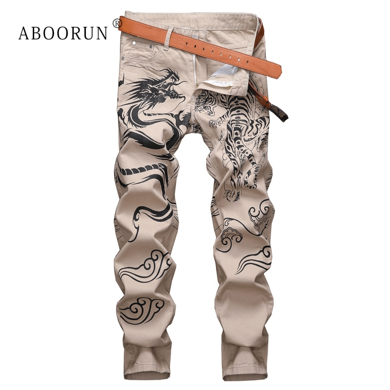 ABOORUN Fashion Dragon Tiger Wolf Printed Jeans Men's Skinny Pencil Jeans Nightclub Hairstylist Wearing for Male