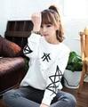 Estilo Harajuku mujeres del resorte sudadera kpop moda monsta x blanco sudadera con capucha más tamaño sudaderas impresión de la insignia y el nombre de usuario