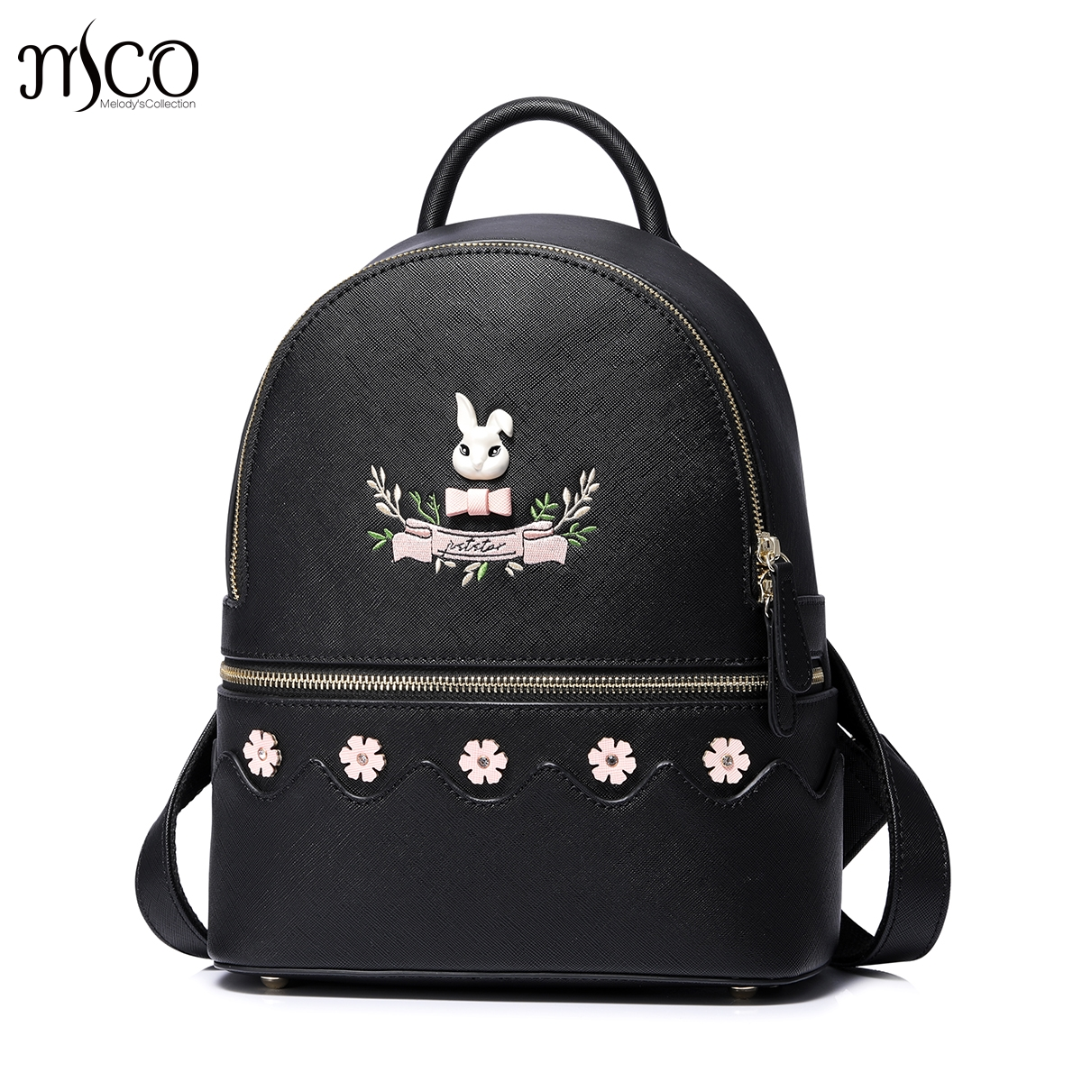 Just Star Women Backpack bunny Flower PU Leather Mochila Escolar School Bags For Teenagers Girls Top-handle Backpacks Herald Bag color women backpack travel bow satchel rucksack pu leather mochila escolar school bags for teenagers girls top handle backpacks