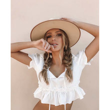 2019 new white fashion women blouse short sleeve ruffles pleated short elastic waist ladies blouses lace up bow tie female blusa