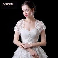 Elegant 2018 New Fancy Wedding Khăn Choàng Ngắn Sleeves Trắng Ngà Cưới Áo Ren Bolero Bridal Bọc Tùy Chỉnh