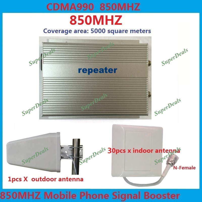 Amplificateur de signal cellulaire répéteur CDMA 850 MHz 5000 carré 3 W gsm répéteur 4g amplificateurs de répéteur de signal mobile + 31 antennes pièces