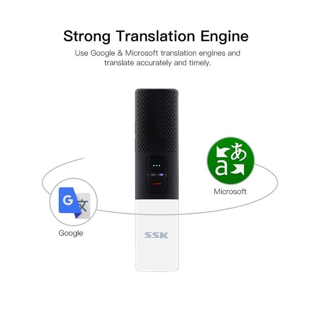 SSK Smart Voice Translator Bt 86 Languages for Travel Business Learning Meeting Pocket Size Accurate Translation 3
