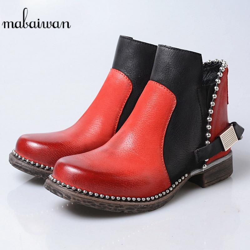 Cadena Genuino Plush Botas Mujeres red Zapatos Nueva Pisos Mujer Short Perlas Plush atroviren Retro Otoño Moda Mabaiwan atrovirens Cuero Tacón Tobillo De 2019 Red Cuadrado Invierno 7fxF7a