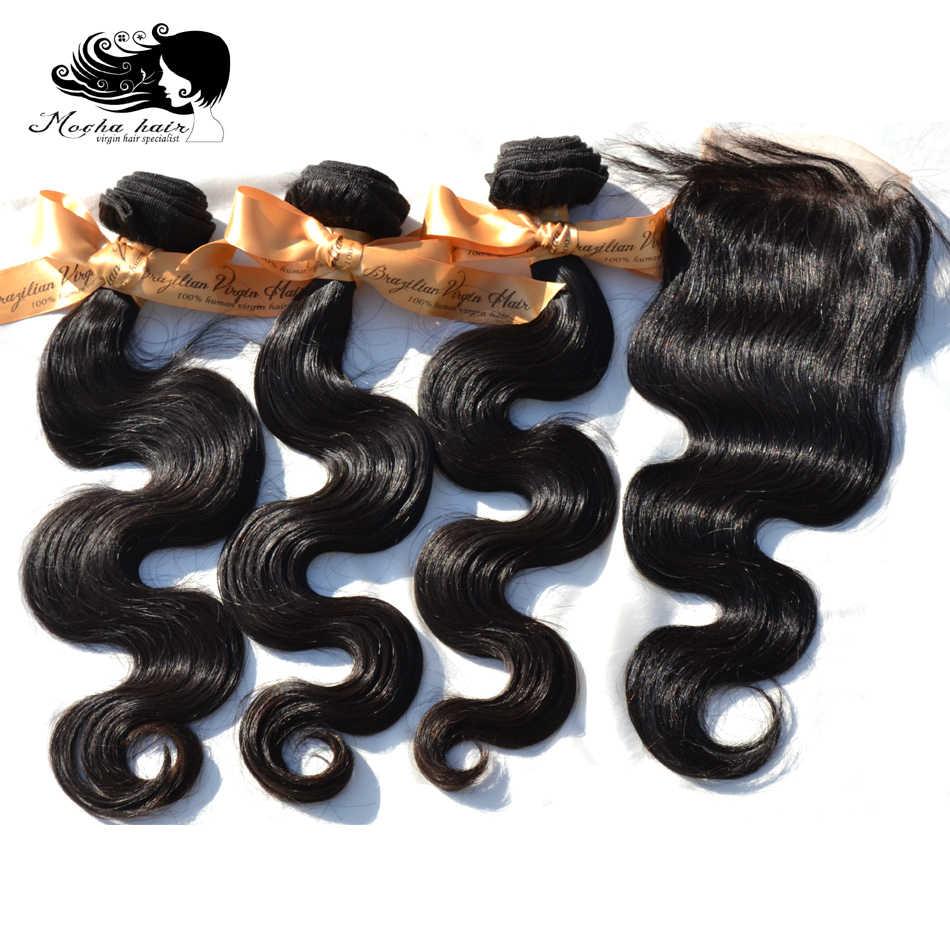 MOKKA Haar 10A Brasilianische Reine Haar Körper Welle 3 Bündel Mit Einem 4*4 oder 13*4 Spitze verschluss 100% Menschliches Haar Kostenloser versand