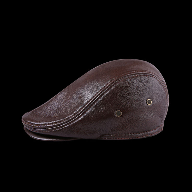 TZRPC casquette Cowhide Genuine Leather newsboy cap middle a