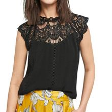 Women Sleeveless Tank Tops Sexy Hollow Out Embroidery Floral Lace Splicing Vest Chiffon Solid Color Loose Elegant S-2XL недорго, оригинальная цена