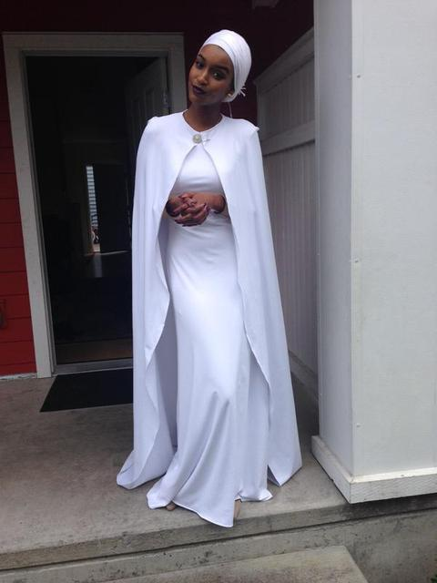 fbaf0d2ca6b 2015 Unique Design White Muslim Prom Dresses Modest High Neck A-line Long Graduation  Dresses with Cape Court Train Cheap