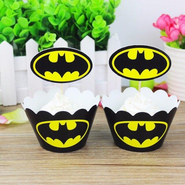 24 pcs Bolo Decor Dos Desenhos Animados Batman Partido (12 pcs pcs Topper do Bolo Do Queque Wrappers + 12) decoração da Festa de Aniversário Favores do Chuveiro de bebê