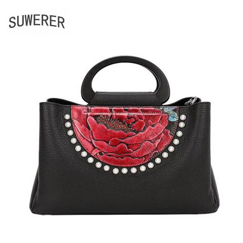 SUWERER 2018 New women bag genuine leather brands Handmade Embossing flower top cowhide tote handbags women leather shoulder bag 2016 new women genuine leather bag fashion chinese style top quality cowhide embossing women leather handbags shoulder bag