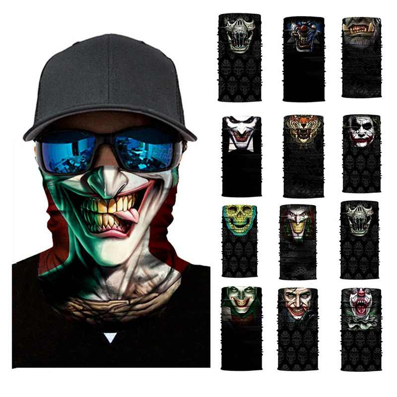 3D Seamless Balaclava Magic Scarf Neck Face Mask Ghost Skull Skeleton Head Bandana Shield Headband Headwear Bandana Men Bicycle