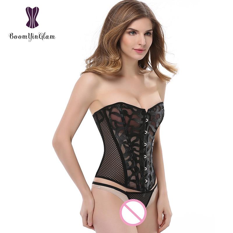 Kostenloser Versand sexy transparente Frauen Bustier Body Body Shapewear atmungsaktive sexy Mesh Netz Korsett mit g String 930 #