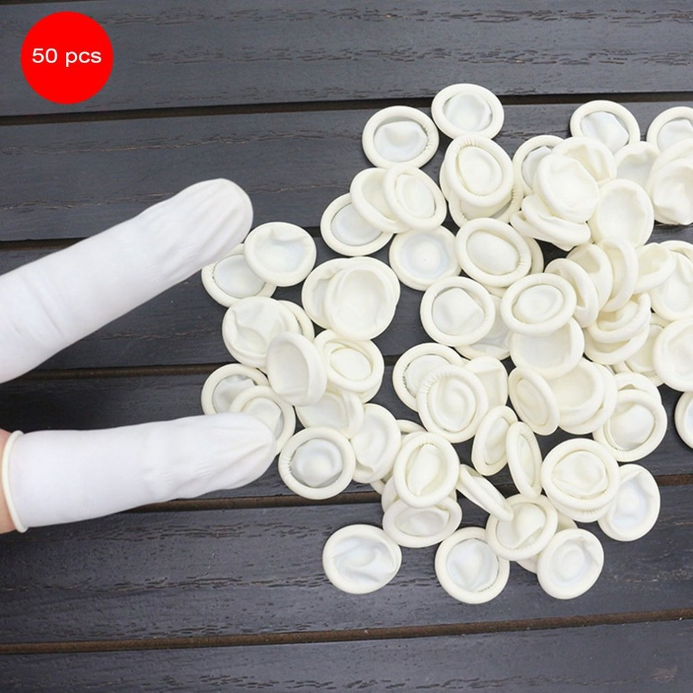 50PCS Durable Natural Latex Disposable Anti-StaticFinger Cots Protective Fingertip  Makeup Eyebrow Extension Gloves Tools
