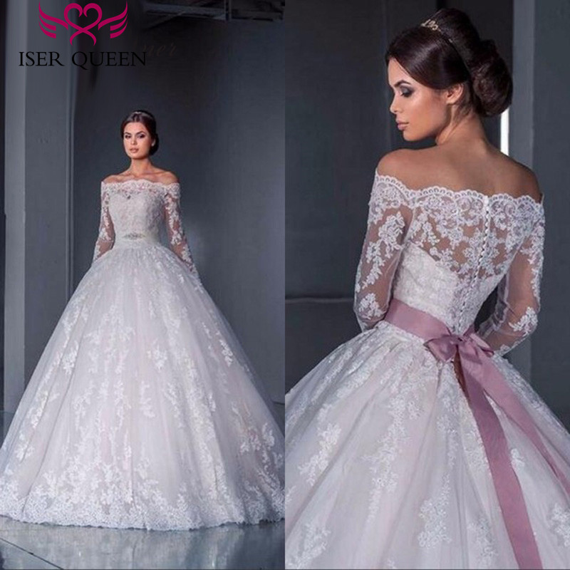 Muslim Arab Plus Size Ball Gown Wedding Dress Long Sleeve Crystal Sashes Boat Neck Button Back