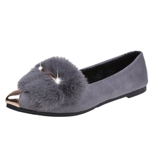Women's Single Shoes 2018spring Autumn New Wild Casual Flat Fur Single Shoes Female Pointed  Shallow Sequins Student Shoes Women free shipping small size 2018 autumn imitation rabbit fur shoes tassel women s shoes flat single shoes pointed and velvet