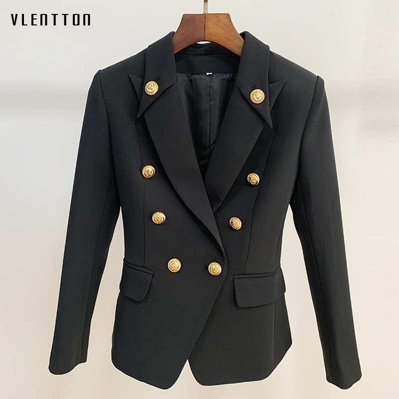 High Quality Designer Blazer Jacket Women's Gold Buttons Double Breasted Office Lady Blazers Outerwear Female Suit Tops Mujer