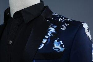 Image 3 - PYJTRL Brand 2018 Tide Men Navy Blue Floral Print Fashion Casual Suits Latest Coat Pant Designs Wedding Groom Stage Costume