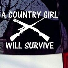 Белый виниловая наклейка страны девочка будет выжить жесткие окна Стикеры декоративные Стикеры 13,4x8,9 см