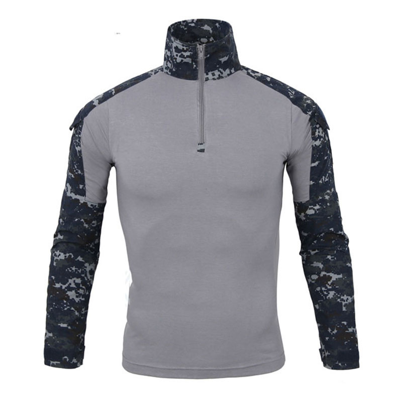 Mens Army Camo Long Sleeve Quick Dry T-shirts Tactical Combat Sports T-shirt Men Anti Uv 1/4 Zip Pullover Outdoor Hiking T Shirt