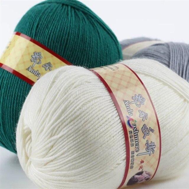 500 g/bolsa Cachemira lana peinada Hilado s en bruto cuatro acciones ...