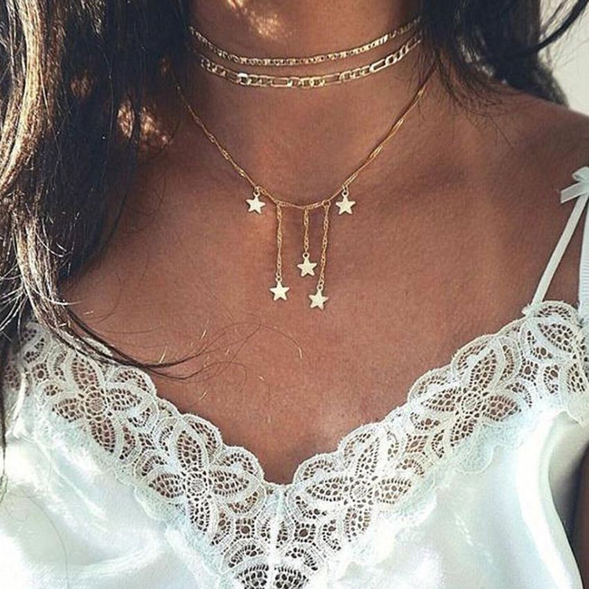 G Layered Rope Chain Choker Necklace - Necklaces