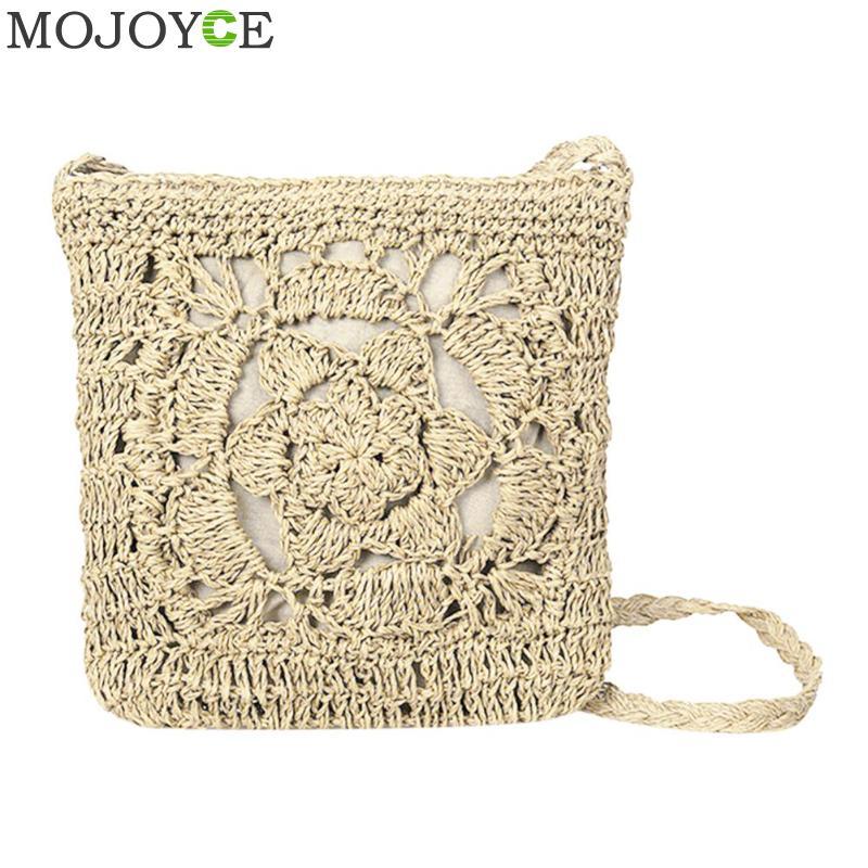 Bohemian Woven Hollow Out Beach Bag Women Crochet Fringed Straw Clutch Handmade Day Clutches Knitting Weave Boho Summer Bag
