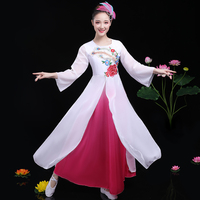 Women Chorus Performance Dress Fashion Dancing Clothes Flower Elegant Chinese Folk Dance Costume Ethnic National Dancewear