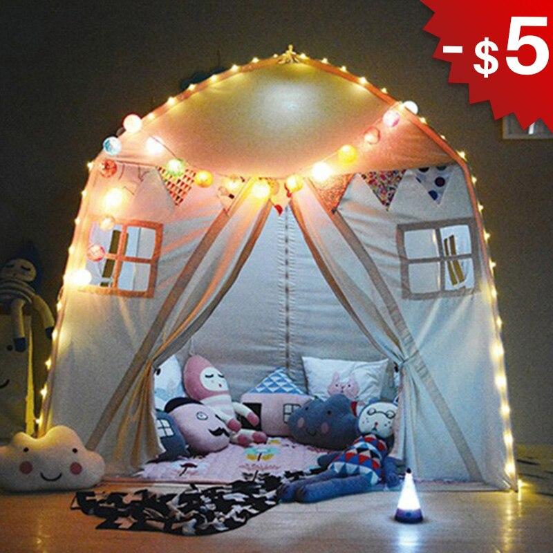 Coton Tipi enfants jouer salle bébé tente intérieure extérieure Playhouse enfant jeu maison Tipi jouets pour enfants cadeaux d'anniversaire Photo