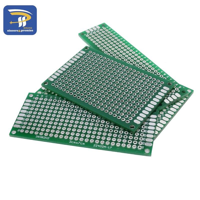 4pcs 5x7 4x6 3x7 2x8cm double Side Copper prototype pcb Universal Board Fiberglass board For Arduino(China)