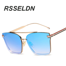 RSSELDN Ladies Fashion Sunglasses Women Flat Top Oversize Shield Shape Glasses Brand Design Vintage Sun Glasses Female UV400