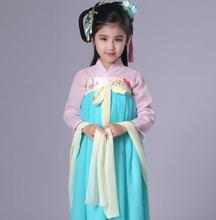 The New Year festival costumes children chest jacket skirt girls dance costume Hanfu improved school clothes