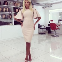 Woman Sexy Casual Style Dresses O Neck Half Flare Sleeve Solid Color Knee Length Female Clothes