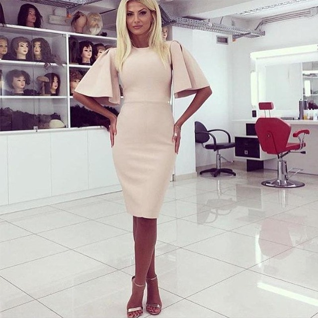 Woman Sexy Casual Style Dresses O-Neck Half Flare Sleeve Solid Color Knee-Length Female Clothes Women Hip Package dresses A1189