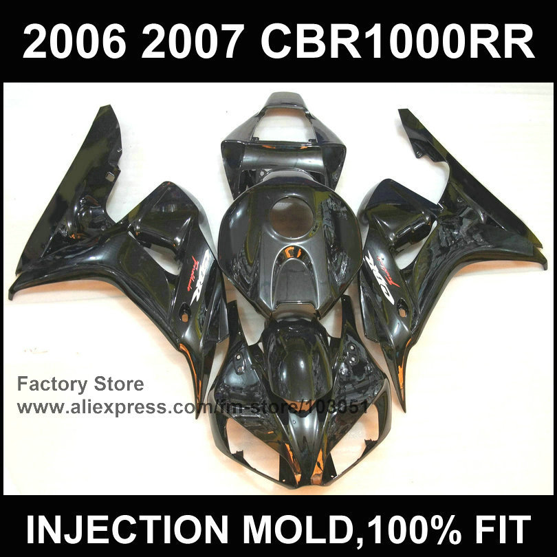 Custom ABS Motorcycle Fairings kit for HONDA 2006 2007 CBR1000RR 06 07 CBR 1000 RR fireblade injection full black fairing sets