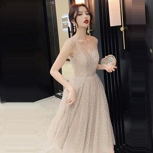 Image 3 - Prom Dress V neck Vestidos De Gala Sequin Elegant Women Party Night Dresses 2019 Plus Size Sleeveless Zipper Prom Gowns E723