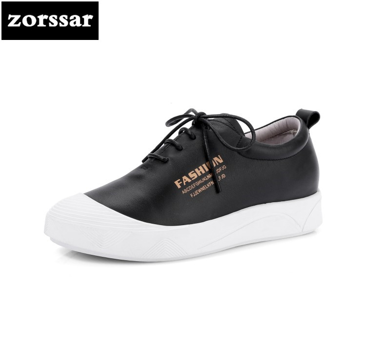 {Zorssar} high quality Genuine cow leather Womens sneakers Casual flats shoes 2018 New Fashion Comfortable flat heel women shoes dreamshining new fashion women colorful flat shoes women s flats womens high quality lazy shoes spring summer shoes size eu35 40