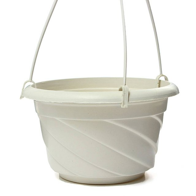 Hanging Flower Plant Pot Chain Basket Planter Holder Home Garden Balcony Decoration White
