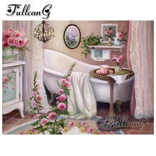FULLCANG diy 5d mosaic full embroidery bathroom and flowers painting with diamonds square/round drill mazayka decoration FC930