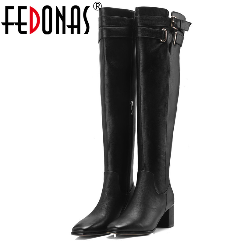 FEDONAS Brand Women Over The Knee High Boots Buckles Long Autumn Winter Zipper High Heels Knight Boots Female Tight High Boots dahua 3mp ir waterproof