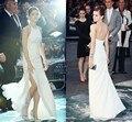 Vestidos de noiva Branco Vestidos de Celebridades Simples Oscars Red Carpet Halter Dividir Longas Formais Vestidos de Noite do baile de Finalistas Vestidos de Festa